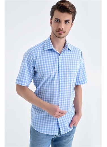Hatemoğlu Kareli Kısa Kol Klasik Gömlek Mavi